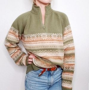 Woolrich Fair Isle Striped Lambswool Green Sweater